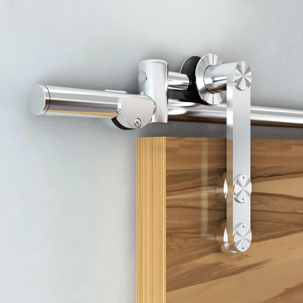 Modern European Stainless Steel Sliding Barn Wooden Door Hardware Track Set for Double Doors (12FT Double Door Kit)