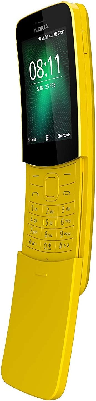 Nokia 8110 4G (2018) Singe-SIM TA-1071 SS 4GB (GSM Only, No CDMA) Factory Unlocked 4G Smartphone (Yellow) - International Version