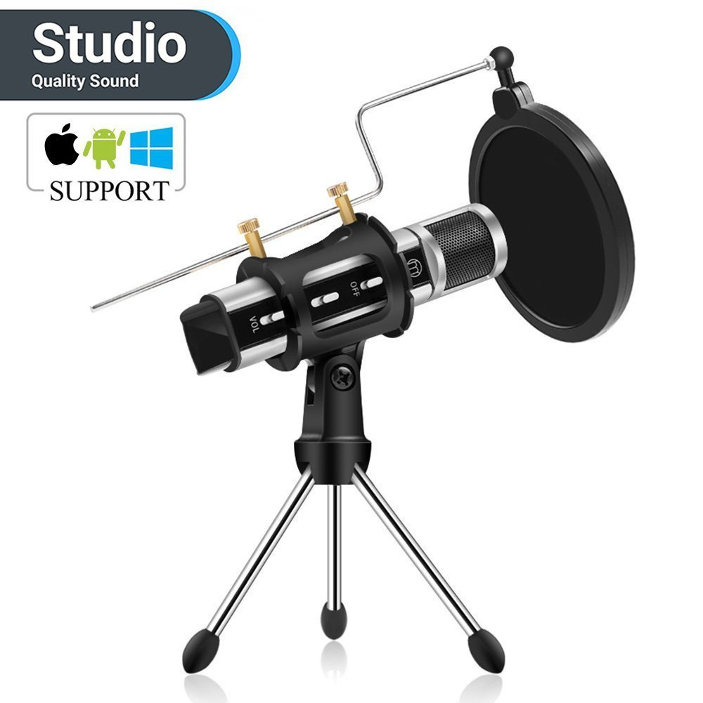 Studio Microphone, ZealSound Condenser Studio Microphone with Built-in Sound Card and Echo Effect, Vocal Recording Computer Microphone w/Tripod Stand for Youtube PC Laptop Tablet and Phone-Silver