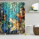 Mermaid Shower Curtain GWELL Waterproof Mandie Manzano