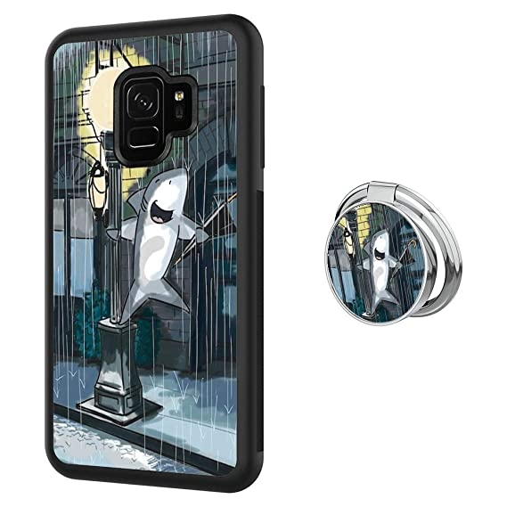 Designed Shark Singer Samsung Galaxy S9 Plus Case with Buckle Ring 360°  Rotatable Silvery Durable Ring Buckle, TPU Black Antiskid Tread Phone Case