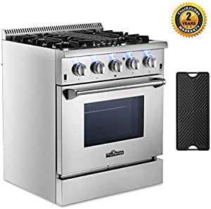 Dual Fuel Range Gas Range Oven, Freestanding Pro-Style Gas Cooktop with 4.2 cu.ft. Oven, 4 Burners, Convection Oven, Cast-Iron Reversible Griddle & Porcelain Oven Interior, Stainless (30 inch)