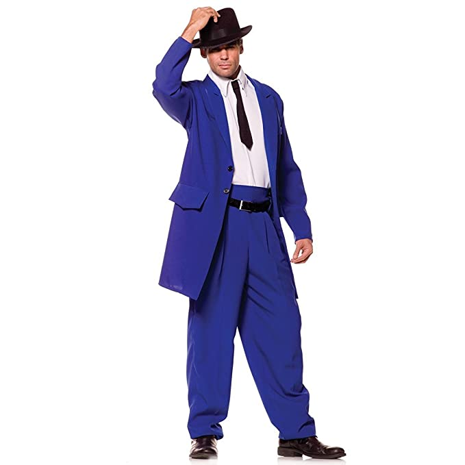 1940s Men's Costumes: WW2, Sailor, Zoot Suits, Gangsters, Detective Underwraps Costumes Mens Zoot Suit Mobster Costume $40.83 AT vintagedancer.com
