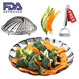 Vegetable Steamer Basket Stainless Steel Folding Collapsible 100% Pots NEW DESIGN Large Various Size 6 to 10 inch Instant Pressure Cooker Accessories + Julienne Peeler