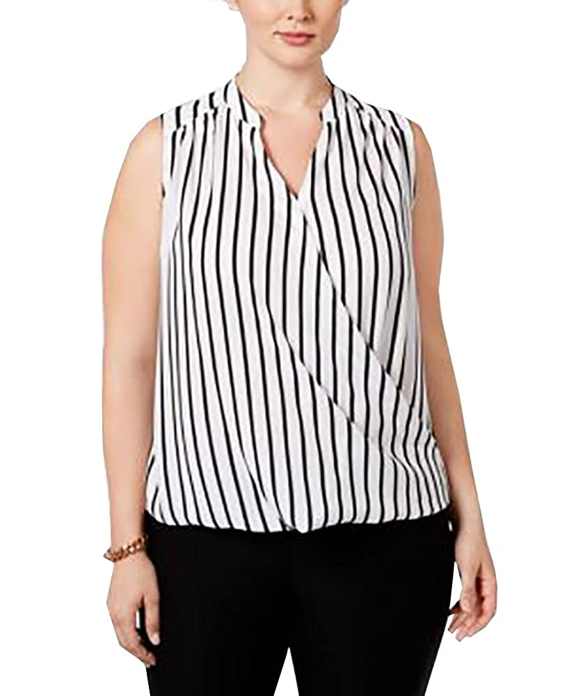 737265815f3c4 INC International Concepts Women s Plus Size Striped Surplice Blouse ...