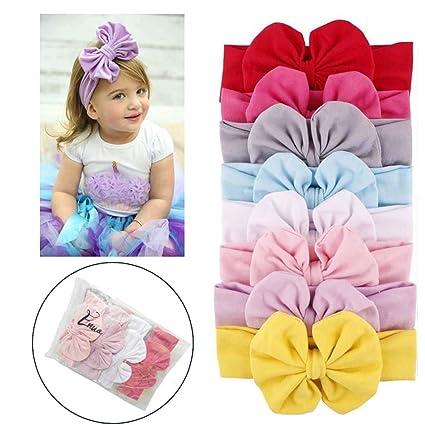 cc4013d37 Enuo 8 Piezas Bebé niñas Bowknot Mini diadema elástica venda Niñas Pelo  Accesorios