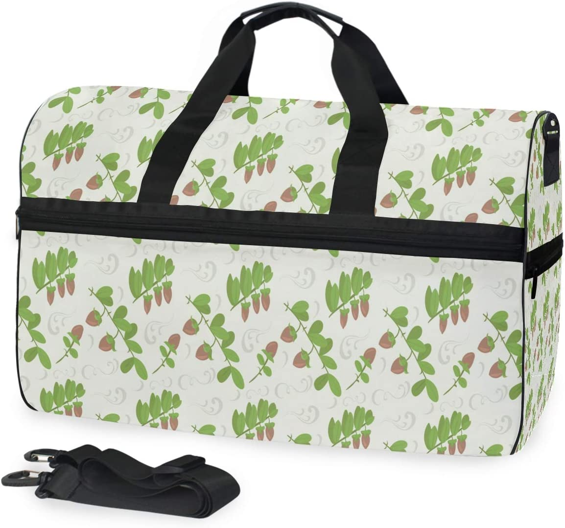 MUOOUM Nuts Leaves Green Cute Large Duffle Bags Sports Gym Bag with Shoes Compartment for Men and Women