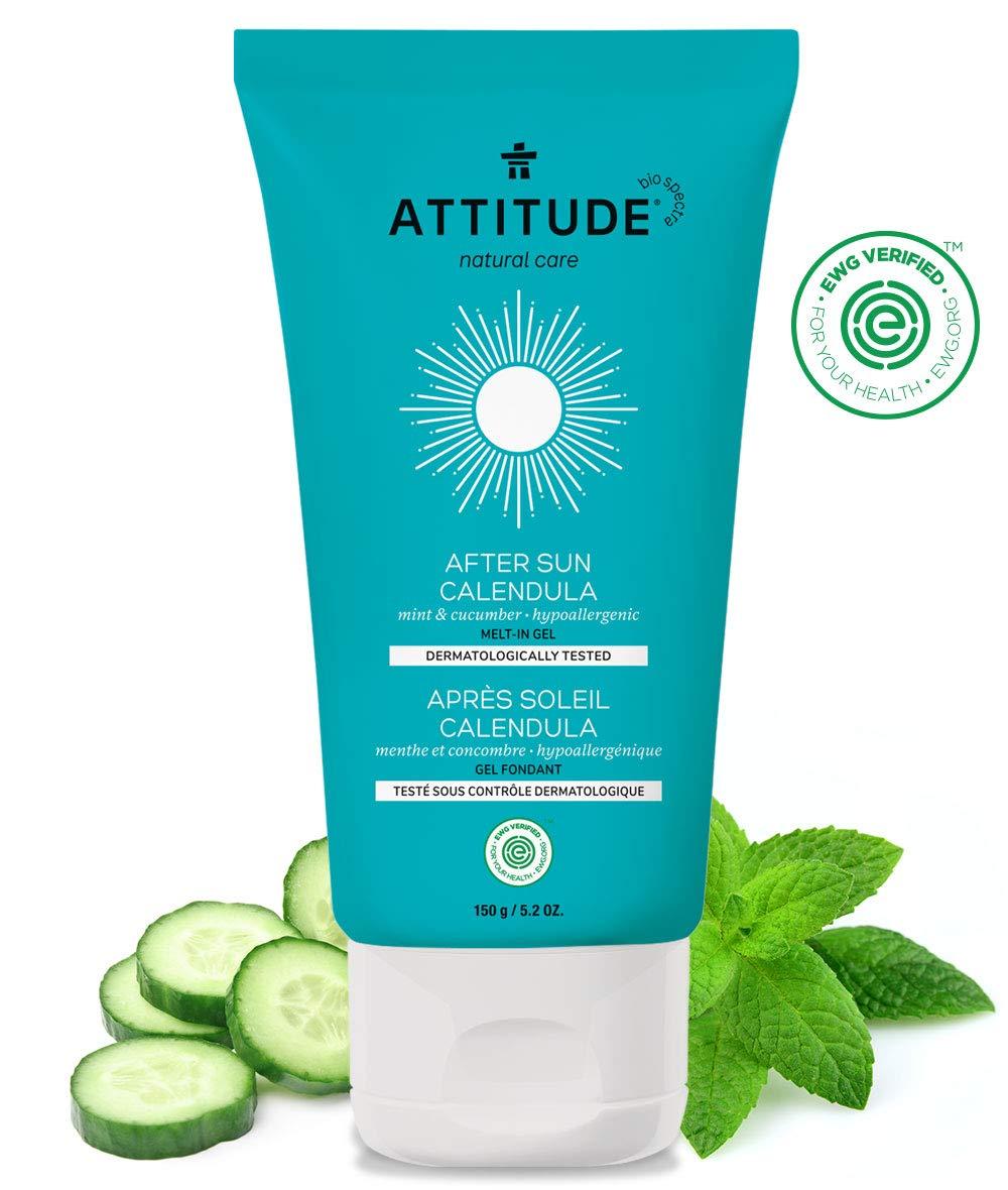 ATTITUDE Natural Care, Hypoallergenic After Sun Calendula Melt-In Gel, Mint & Cucumber, 5.2 oz