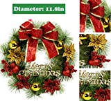 Christmas Wreath Poinsettia Pine Needles Bowknot Outdoor Indoor (Small Image)