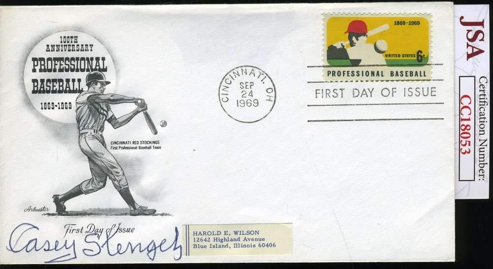 CASEY STENGEL JSA COA Autograph 1969 FDC Hand Signed Authentic