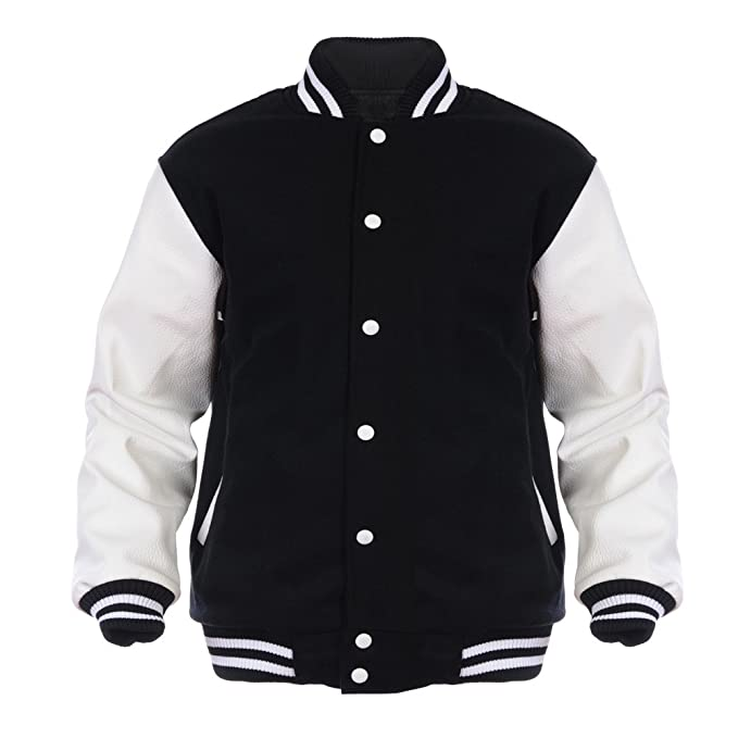 Angel Cola Black &amp White Varsity Wool &amp Synthetic Leather