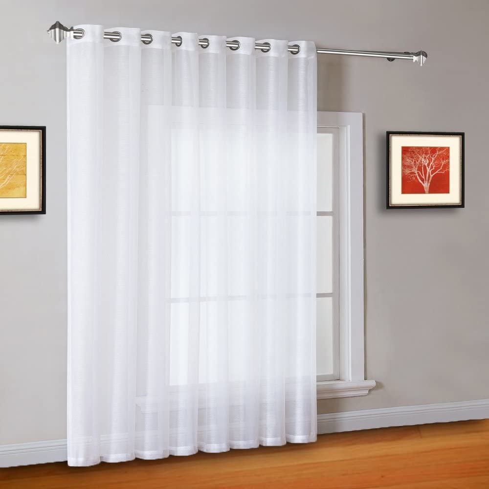 Warm Home Designs 1 Extra-Wide Bright White Sheer Patio Curtain Panel 102 x 84 Inch Long with Grommets. Designed as Patio Door, Sliding Glass Door, or Room Divider Drape - K Patio White 84""