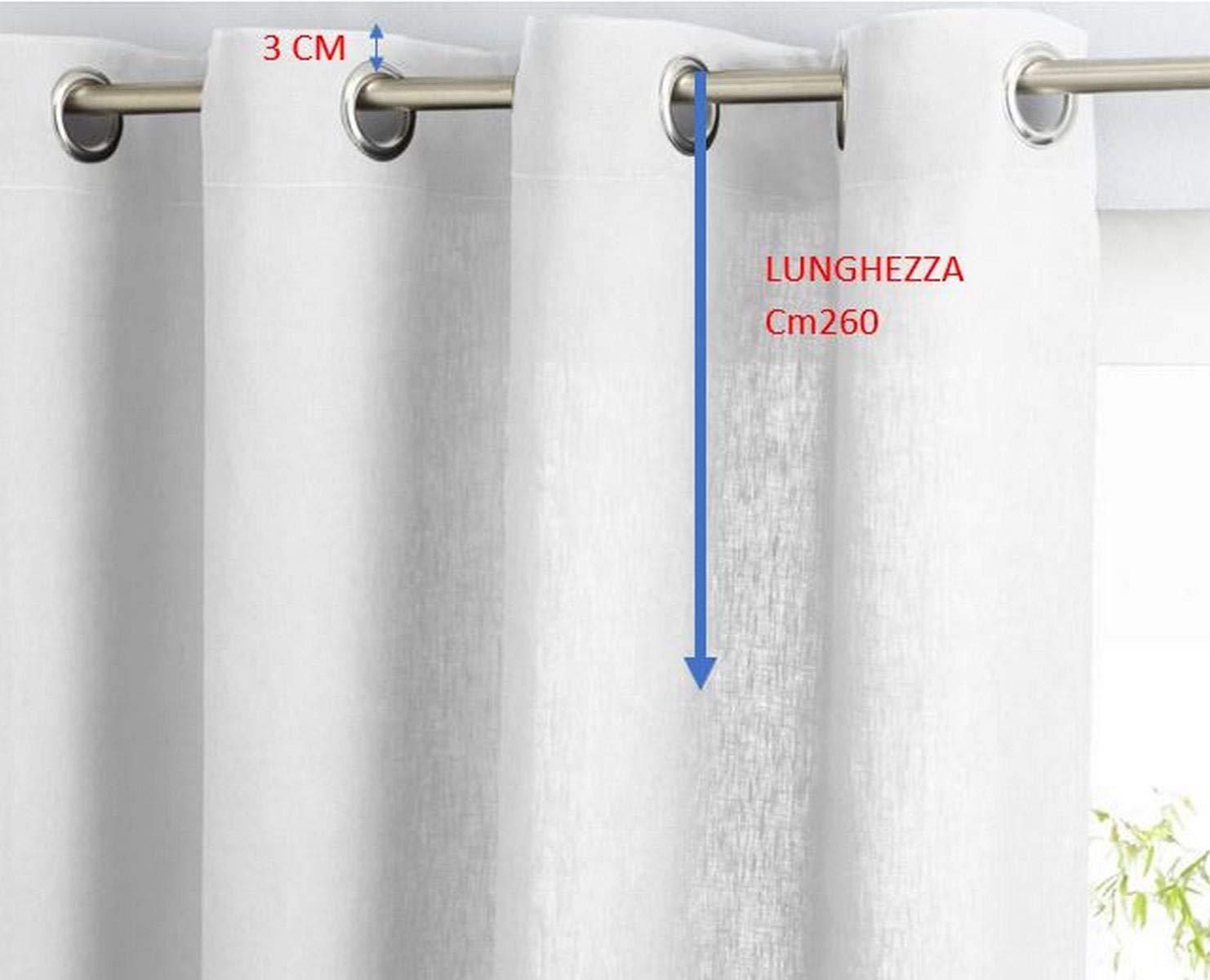 Rideaux Voilages-100/% Polyester Effet Lin LxH 150 x 260 cm-sur Demande Longueur personnalis-Arancio