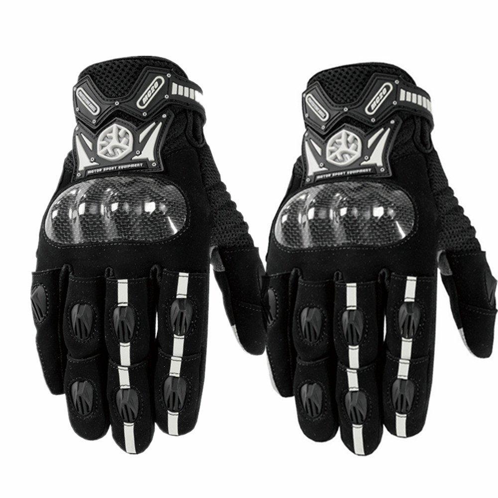 Sdcvopl Protective Gloves Motorcycle Full Finger Carbon Fiber Gloves for Motorbike Cycling Racing Hiking Ventilation (Color : Black, Size : M)