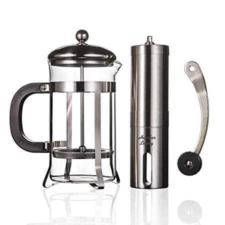 French Press Coffee Maker Heat Resistant Borosilicate Glass Manual Coffee Grinder Stainless Steel Set