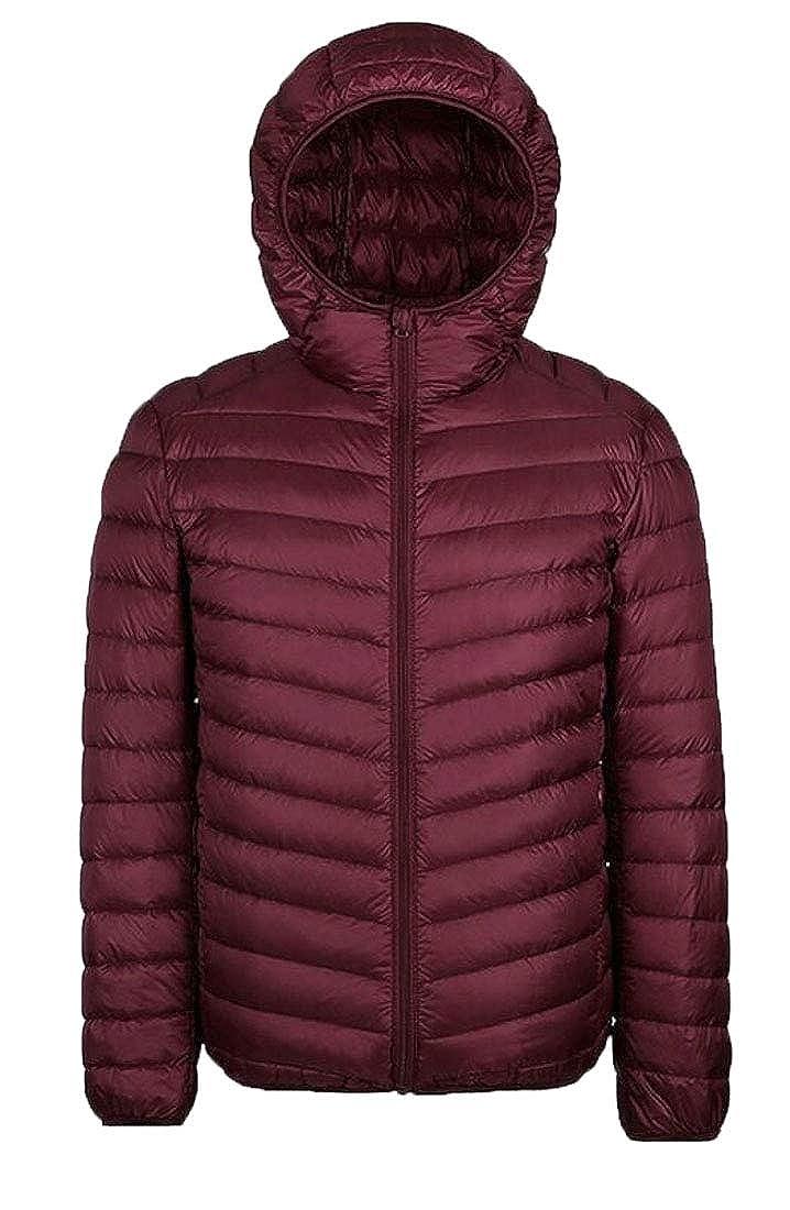 ouxiuli Mens Packable Down Jacket Hooded Lightweight Winter Warm Puffer Coat Outerwear