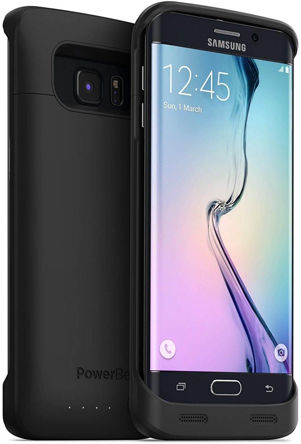 PowerBear Samsung Galaxy S6 Edge Battery Case [3500 mAh] External Battery Charger for The Galaxy S6 Edge (Up to 1.35X Extra Battery) - Black [24 Month Warranty]