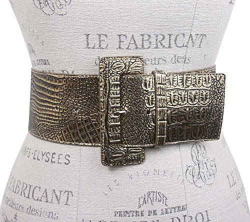 3 Inch Wide High Waist Croco Print Patent Leather Fashion Belt Size: (Gold Crocodile Belt)