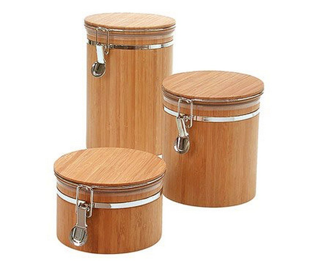 JapanBargain 4092+4093+4094 Bamboo Canister Set of 3 Yellow