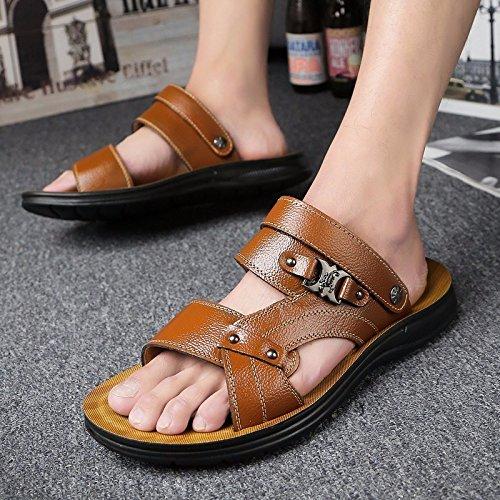 estate Il nuovo vera pelle Uomini sandali Tempo libero scarpa Uomini Antiscivolo sandali Spiaggia scarpa tendenza ,Marrone,US=9.5,UK=9,EU=43 1/3,CN=45