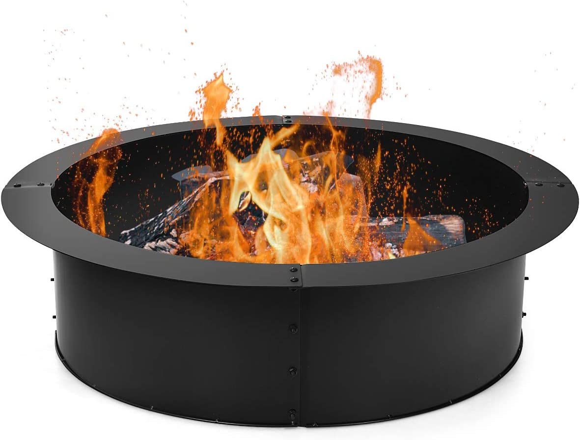 Amazon Com Giantex Fire Ring Heavy Duty Thick Solid Steel Fire Pit Liner 36 Inch Outer 30 Inch Inner Diameter Diy Fire Pit Rim Above Or In Ground For Outdoor Patio Backyard Garden Outdoor