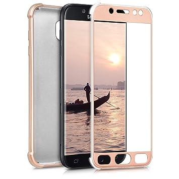 kwmobile Funda para Samsung Galaxy J5 (2017) DUOS - Carcasa [Doble] de [TPU] - Case de [ambas Caras] para móvil en [Oro Rosa Metalizado]