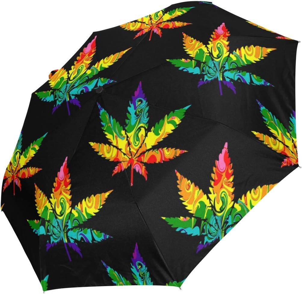 Ahomy Art Paraguas de 3 Pliegues, diseño de Hojas de Marihuana, Resistente al Viento, Resistente a los Rayos UV y a la Lluvia, Apertura y Cierre automático