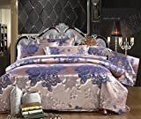 TheFit Home Textile, European Style 6 Family Bed, Oil Print Bedding Luxury Romantic Bedroom 4 Pcs Silk Jacquard (King)