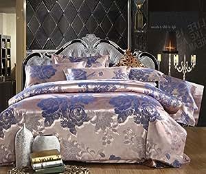 TheFit Home Textile, European Style 6 Family Bed, Oil Print Bedding Luxury Romantic Bedroom 4 Pcs Silk Jacquard (King)