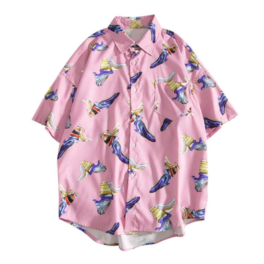 KLGDA Mens Retro Shirt Fashion Luxury Floral Print Short Sleeve Casual Button Down Shirt Pink