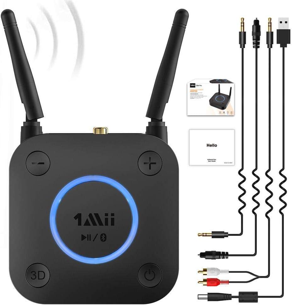1Mii Receptor Bluetooth 5.0, Adaptador de Audio con Control Volumen HiFi, Bluetooth Receptor de Audio aptX LL de Baja Latencia Óptico RCA AUX 3.5mm ...
