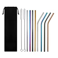 Stainless Steel Metal Reusable Straws Colourful Rainbow Black Rose Gold Silver 4 Bent 4 Straight 2 Cleaning Brush