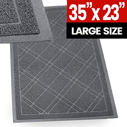 "SlipToGrip Universal Door Mat – Plaid Design Size 35"" x 23"" – Anti Slip, Durable & Washable – Duraloop Mesh Entrance Outdoor & Indoor Welcome Mat – Dirt and Dust ()"