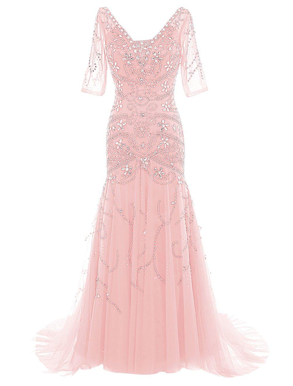 Dressystarレディースドレス ビーズ付く ロング丈 花嫁ドレス 袖あり レースアップバック ウェディングドレス 結婚式ドレス 二次会ドレス パーティーワンピース ステージドレス 演奏会 コンサートワンピース B018XDTXM6 19|ピンク ピンク 19
