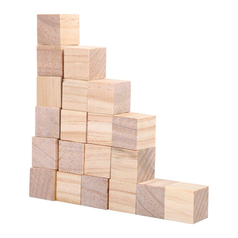 proyectos num/éricos para sellos cubos de madera sin terminar 1# cuadrados de madera Cubos de madera juego de bloques de cubos peque/ños bloques cuadrados de madera natural manualidades