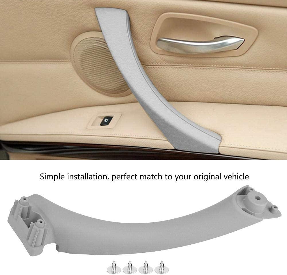 Aramox Car Door Handle,Car Inner Handle Interior Door Panel Pull Trim Right Side for 3 Series 2004-2012 Gray