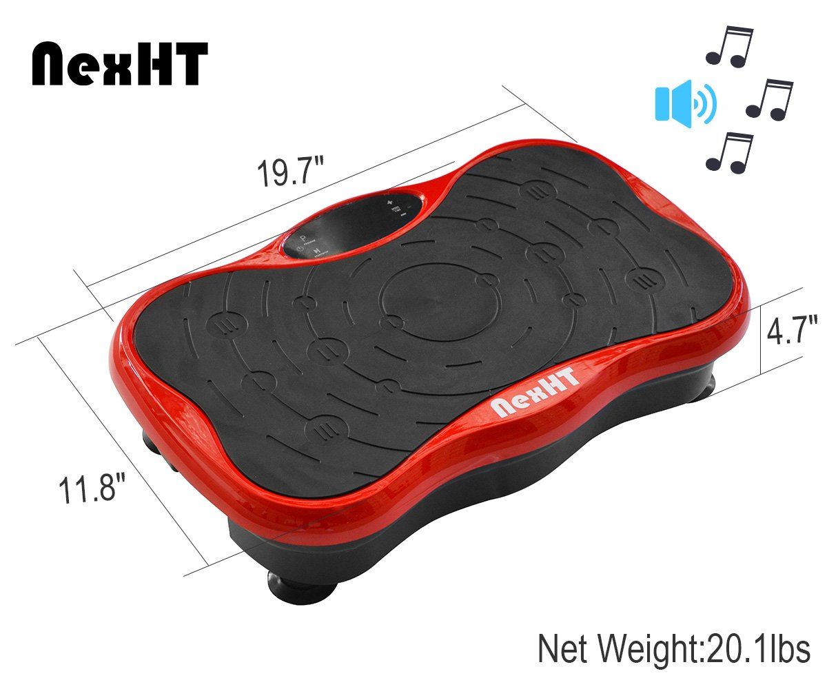 NexHT Mini Fitness Vibration Platform Whole Body Shape Exercise Machine with Built-in USB Speaker(89012A), Fit Vibration Plate Massage Workout Trainer with Two Bands &Remote,Max User Weight 330lbs.Red by NexHT (Image #3)