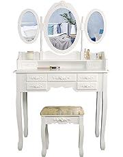 CCLIFE Coiffeuse avec miroir et tabouret - Coiffeuse avec tabouret -  Coiffeuse table de maquillage - 4273ae0c9f35