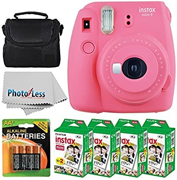 Fujifilm Instax Mini 9 Instant Film Camera Flamingo Pink Fujifilm Instax Mini Twin Pack Instant Film 80 Shots Camera Case Aa Batteries Accessory Bundle Camera Photo