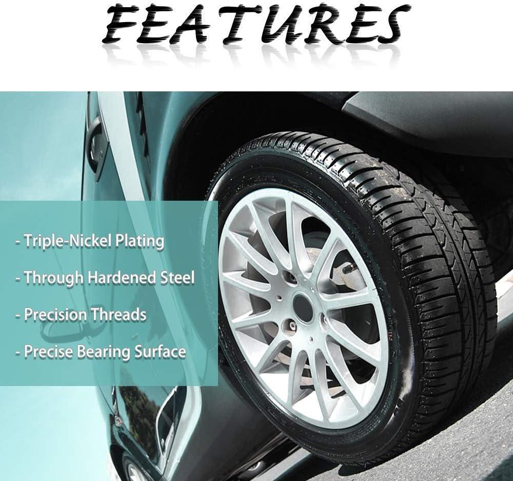 LEDKINGDOMUS Lug Nuts 14x1.5 Black Wheel Lug Nuts Closed End Spline 24Pcs with 2 Keys Fit for Chevy GMC Ford Cadillac Lincoln SAAB Saturn Silverado 1500 Savana 1500 F150 Express