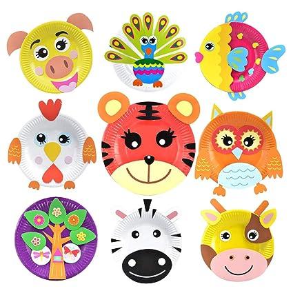 Amazon Com Artibetter Paper Plate Craft Art Kit Animal