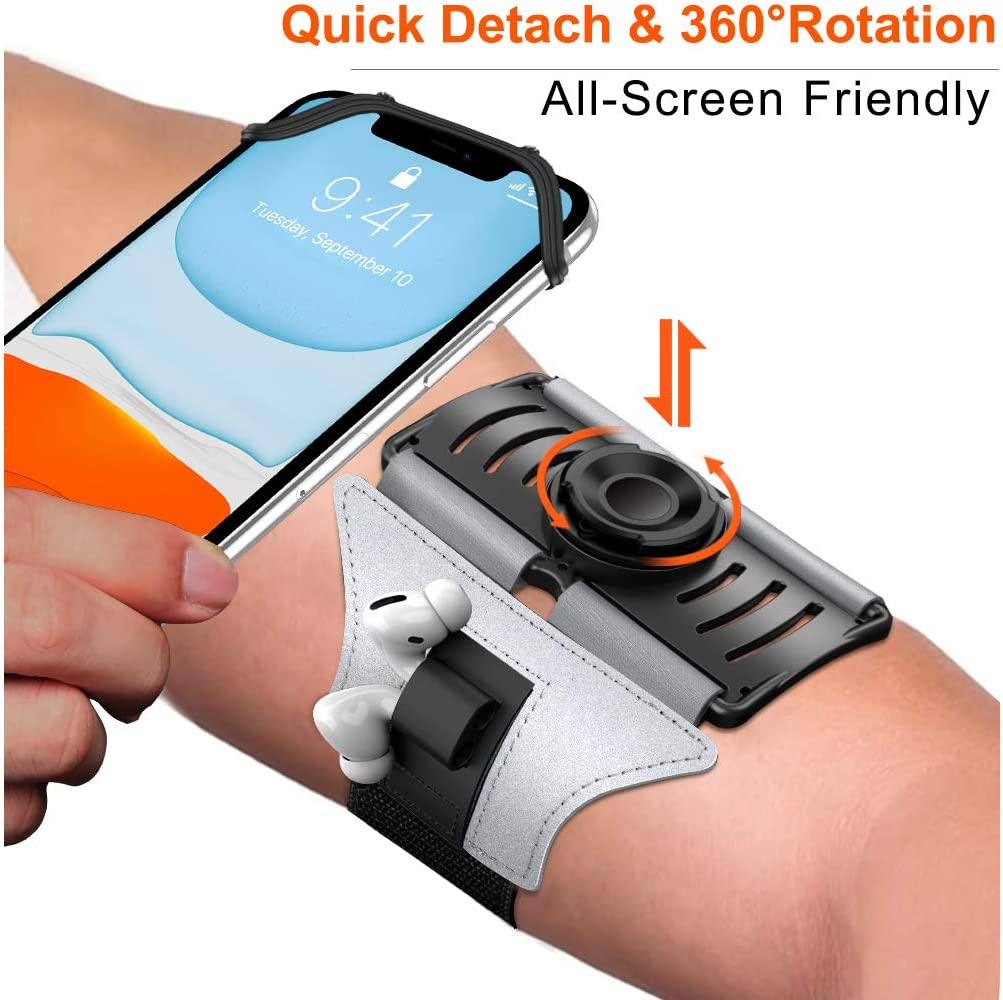 VUP Upgraded Running Armband Detachable & 360°Rotation with AirPods/AirPods Pro Holder Phone Armband for iPhone, Samsung, All Screen Friendly Fits All 4-6.5 Inch Smartphones for Running Biking(Silver)