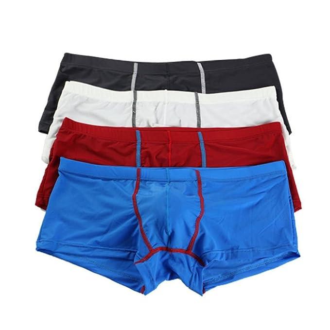 Secado Rápido Seda de Hielo Suave Hombres Ropa Interior Boxer Shorts Cintura Baja U convexo Troncos