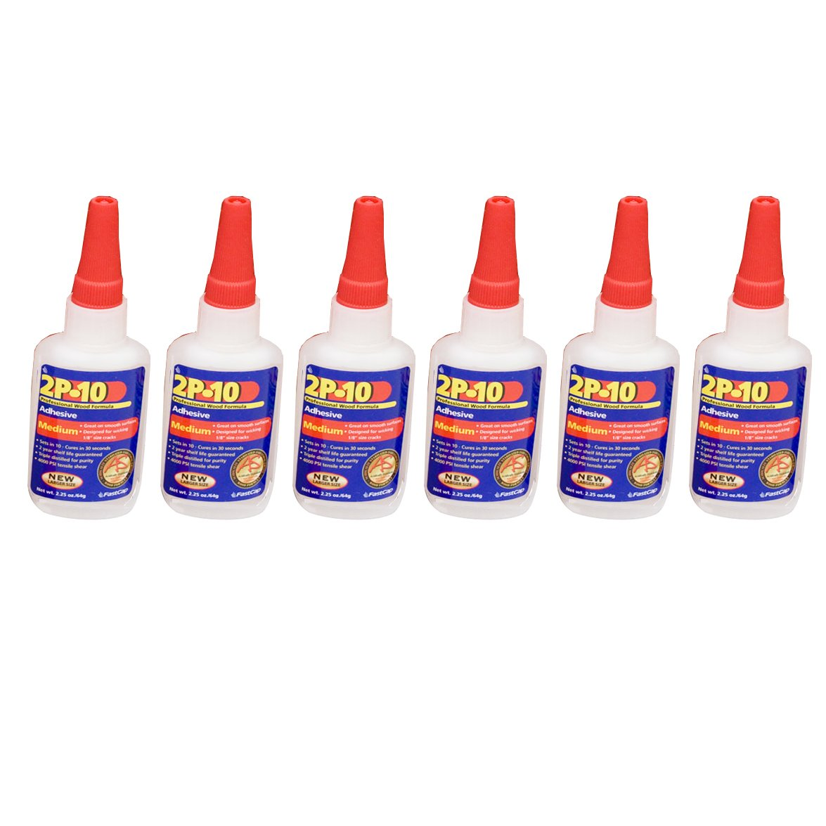 FastCap 2P-10 Professional 2 Oz Medium Super Glue Adhesive Bottles, 6-Pack