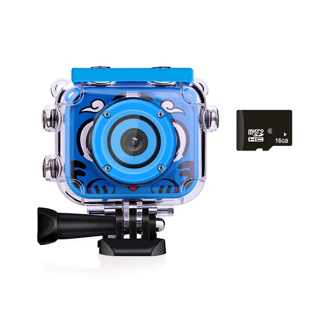 Outeck Kids Action Camera Waterproof Video Digital Children Cam 1080P HD Sports Camera Camcorder for Boys Girls, Build-in 16GB SD Card (Blue)