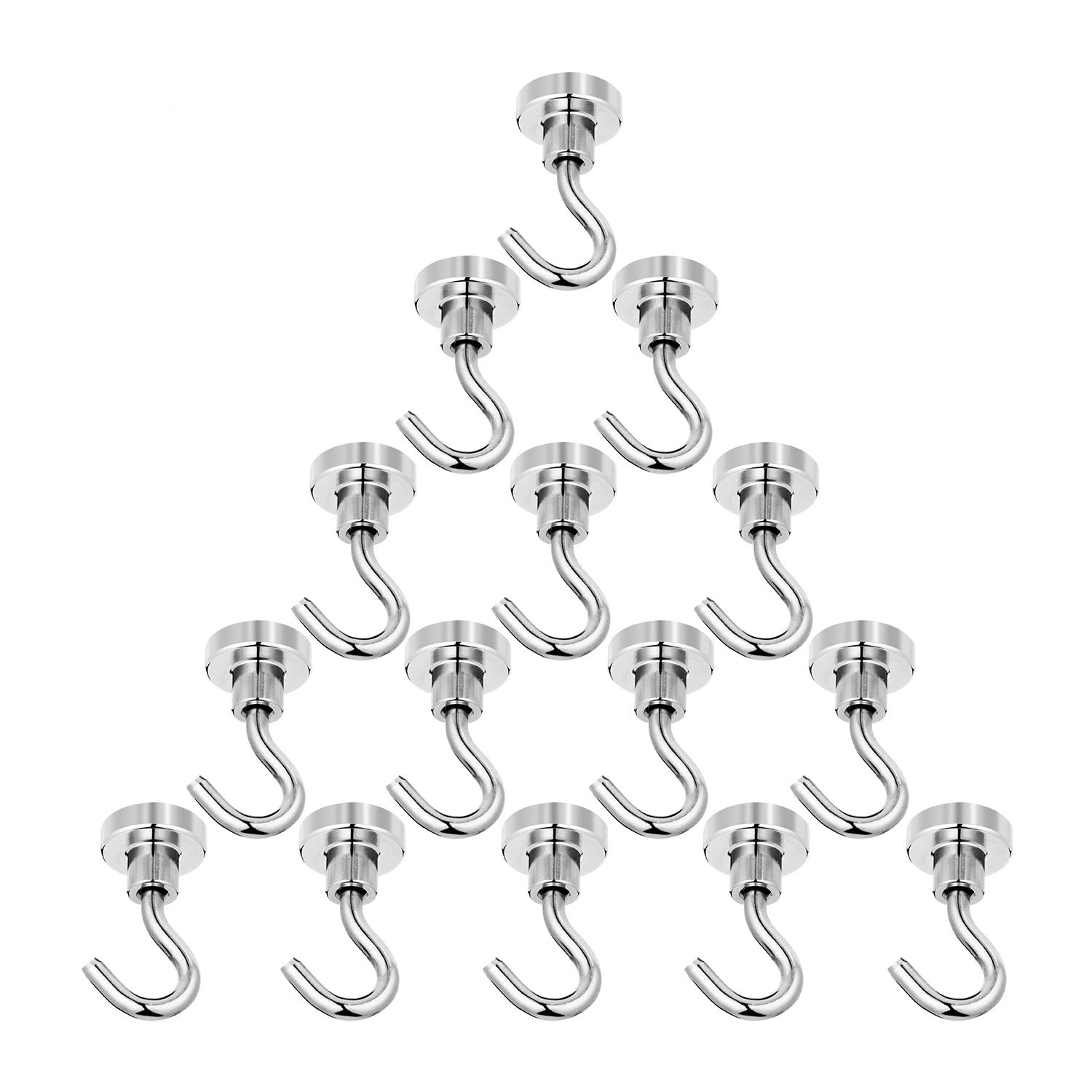 FUTU 24lb Magnetic Hooks,with 3 Layers' Nickel Strong Corrosion Protection,Ideal for Indoor/Outdoor Hanging(Silvery White,Pack of 15)