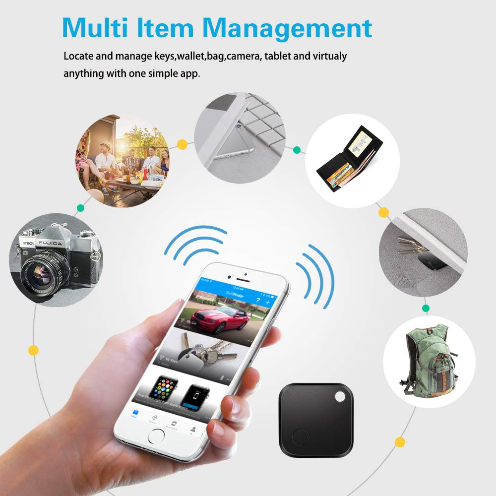Replaceable Battery with Long Standby Time Key Finder,Phone Finder,Bluetooth Tracking Locator for Keys,Wallet,Bag,Luggage,with App Control,Smart Anti Lost Alarm,for iPhone iOS//Android Compatible