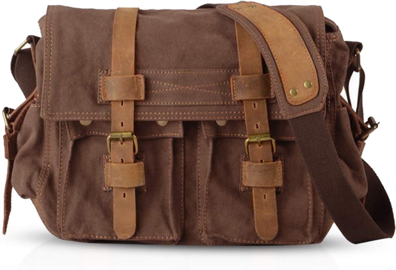 FANDARE Nuevo Bolsa Mensajero Messenger Bag Crossbody Bolso Bandolera Shoulder Bag 14 Pulgadas Portátil Estudiante Viaje Trabajo Escuela Las Mujeres Hombre Bolso Lona Marrón