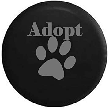 Dog Lover Paw Print Rescue Spare Tire Cover Black 32 in Stealth Adopt
