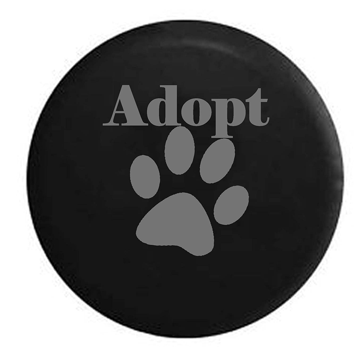 Dog Lover Paw Print Rescue Spare Tire Cover Black 29 in Pike Outdoors Adopt